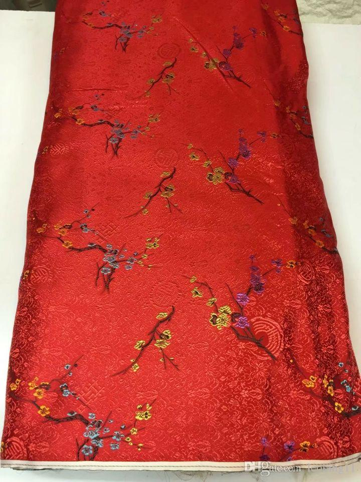 8 Meters/pc Beautiful red african cotton fabric and plum flower pattern embroidery swiss voile lace for clothes JC20-1