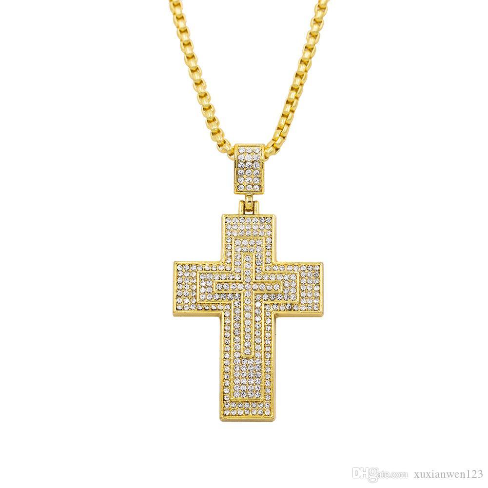 Personalizado Jesús Cross Cross Collar Mujeres Hombres Hip Hop Colgante Collar Joyería 2018 Accesorios de collar largo