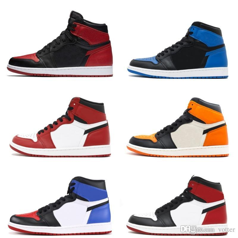 Classique 1s Chaussures de basket-ball pour Hommes Femmes Bred Toe royal Top 3 Or Shattered Backboard Ombre Chicago Royal Game sport Chaussures de sport Taille 36-46