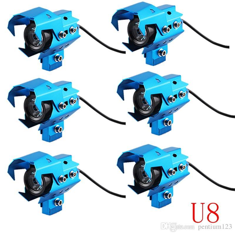 6 adet 10 W 12 V 3000LM U8 LED Dönüşümü Spot Motosiklet Far Alüminyum Alaşımlı Malzeme Yüksek Parlaklık Kurulumu kolay