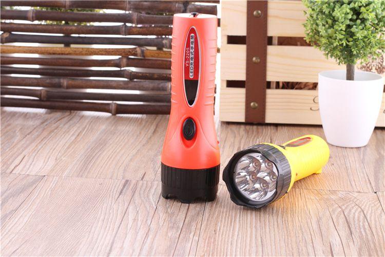 5 lamp holder /2 gear LED flashlight rechargeable high-power strong light household hand-held portable plastic flashlight.
