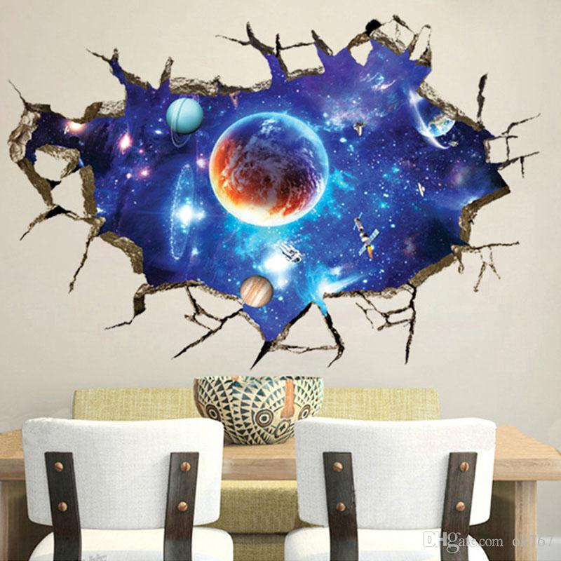 Creative 3D new fantasy sky wall stickers living room TV wall wallpaper background decorative painting PVC stickers