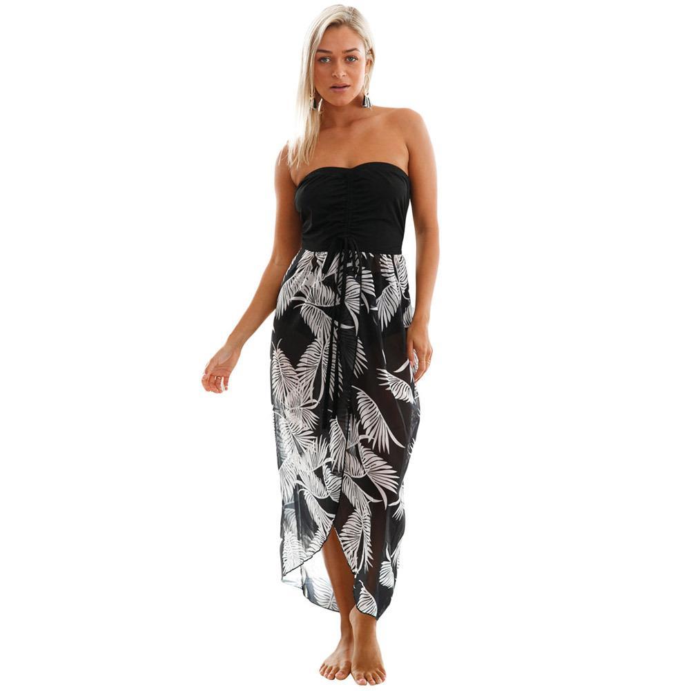فساتين الشاطئ مثير أسود أبيض طباعة التستر اللباس المرأة 2018 الجانبية سبليت الشيفون صوفية صيدا دي برايا المايوه