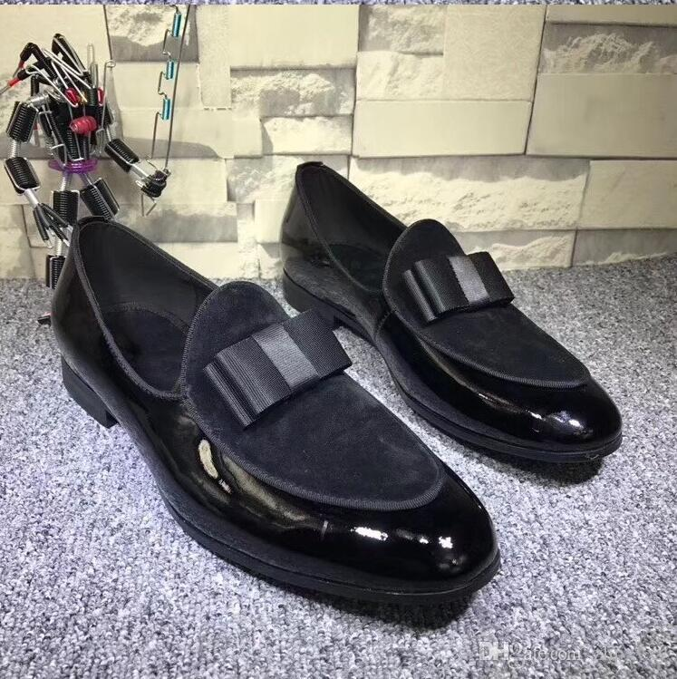 Handmade Genuine Patent Leather Patchwork With Bow Tie Men Wedding Dress Shoes Men's Banquet Loafers h1h39