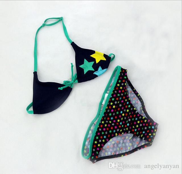 2018 New Summer Bathing Suit Girls split Two-pieces Swimwear Children Cute Star Pattern Split Bikini Girls Swimsuit Wholesale