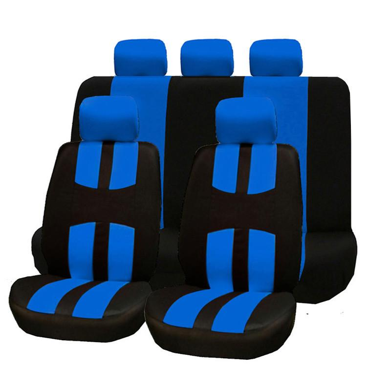 9pcs Set Car Seat Covers Universal Fit Polyester 2MM Composite Sponge Car-styling Seat Protectors Black Blue Seat Covers