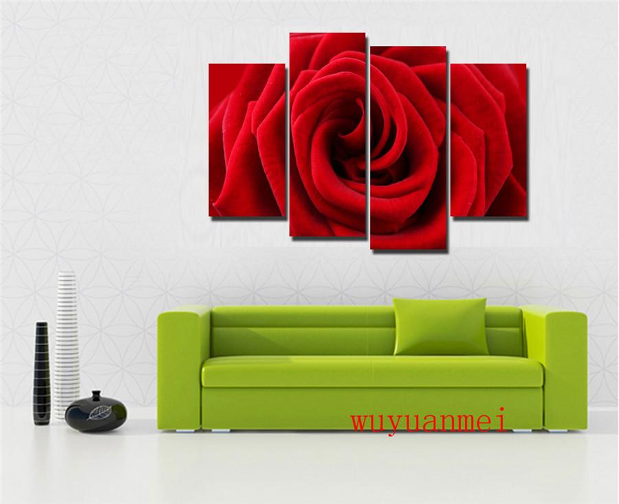 Red Rose , 4PC Pieces Home Decor HD Printed Modern Art Painting on Canvas (Unframed/Framed)