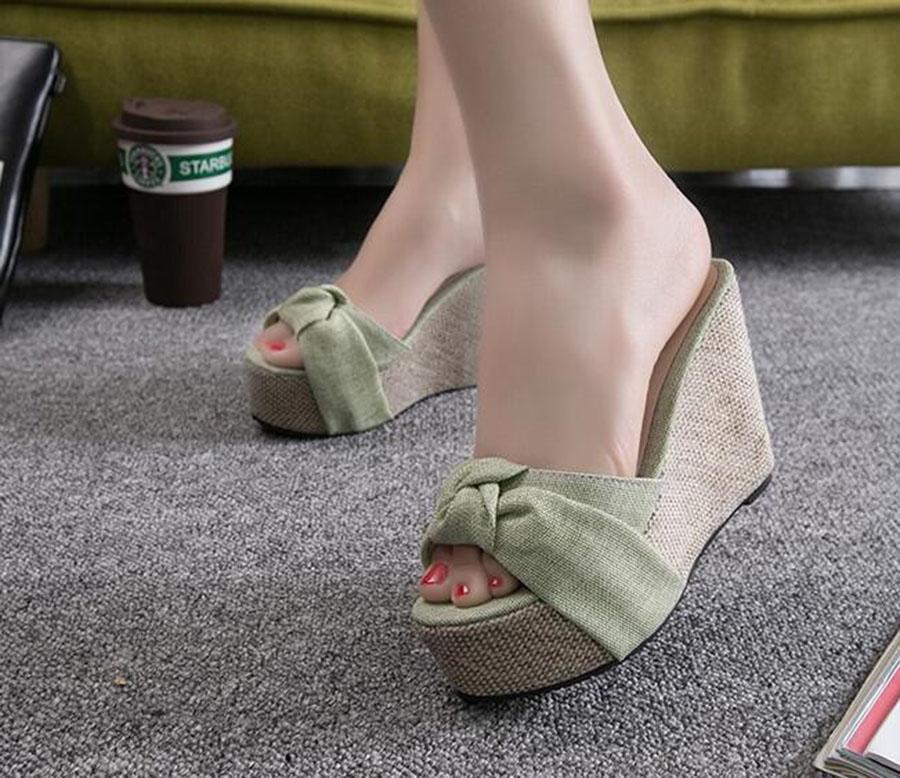 Лето новый сладкий Клин с Женская обувь тапочки лук супер высокий каблук клинья износостойкие удобные красивый внешний вид Женская обувь