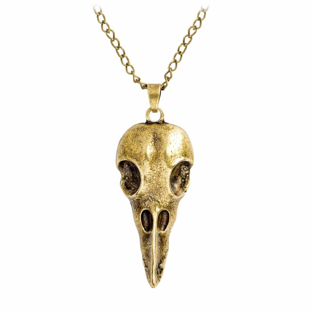 İskandinav Viking Raven kafatası Kuş Kafatası Kolye Kolye Bronz Gümüş Metal Crow kafa Kafatası Muska Rune Erkekler Kolye Moda Punk takı