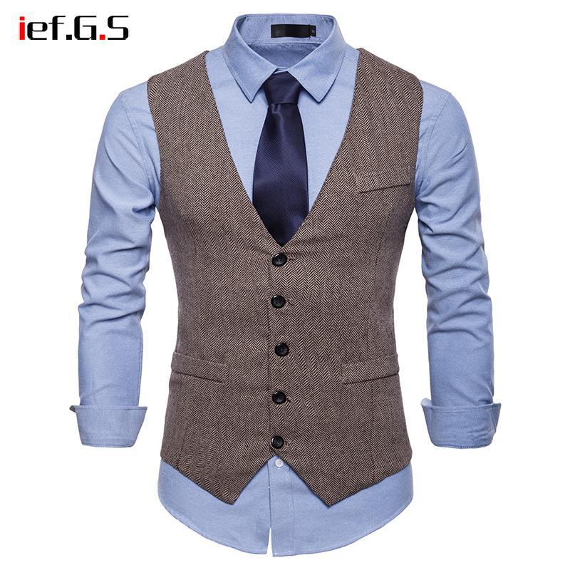 IEF.G.S 2018 Suit Vest Men Jacket Sleeveless Beige Gray Vintage Tweed Vest Fashion Spring Autumn Plus Size Waistcoat