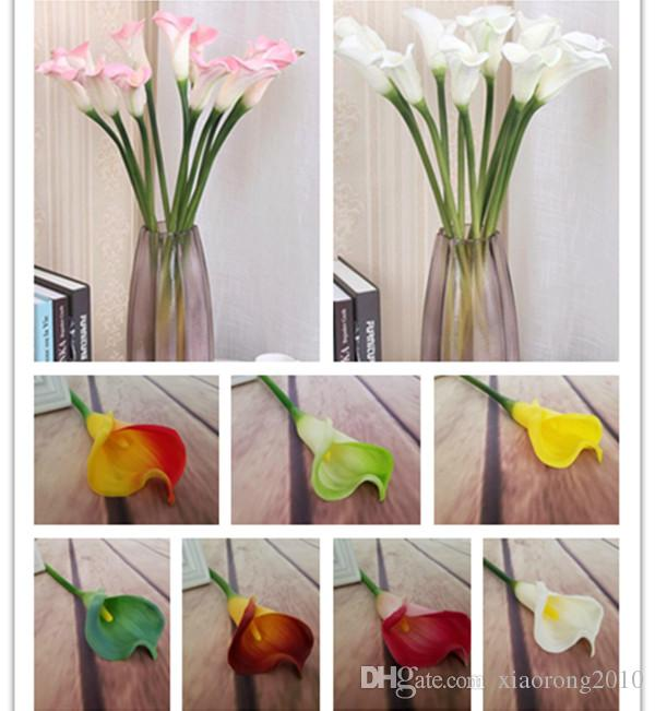 Real Toque Grande Tamanho Calla Lily Flores Artificiais Callas Flores Simulação PU Calla Lírios 8 cores para Centrais De Mesa de Casamento flor