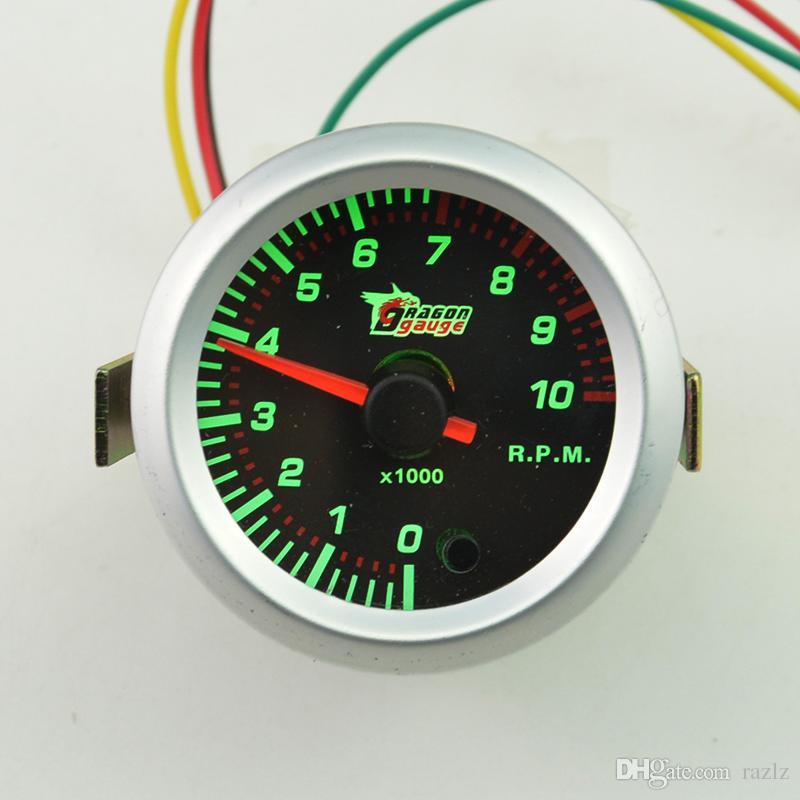 """2 """"52 ملليمتر سيارة القس عداد تاكو مقياس سرعة الدوران مؤشر مقياس متر 0-10000 دورة في الدقيقة / 7 اللون"""