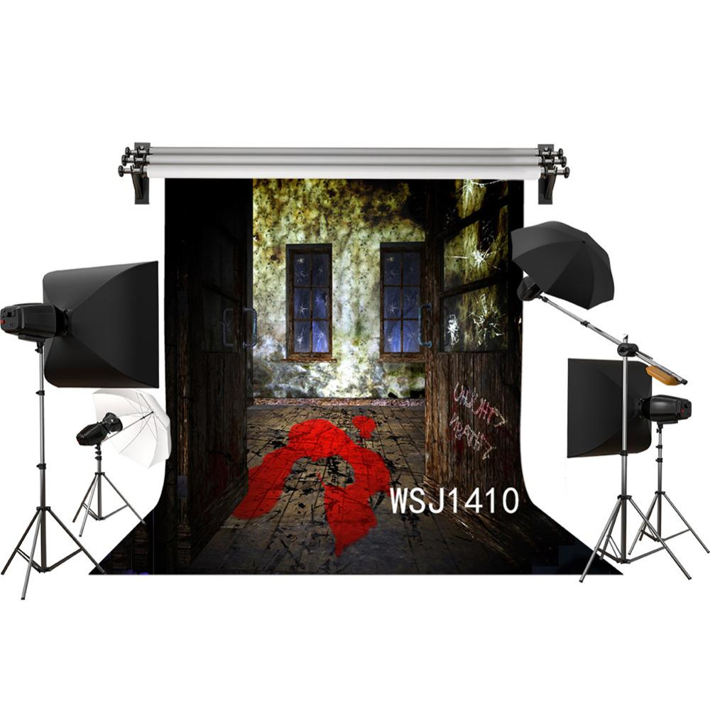 Gros Polyester Vinyle Halloween Prank Ruines Sang Sur Le Sol Décors Fond Pour La Photographie Studio Toile de Fond Photo Props