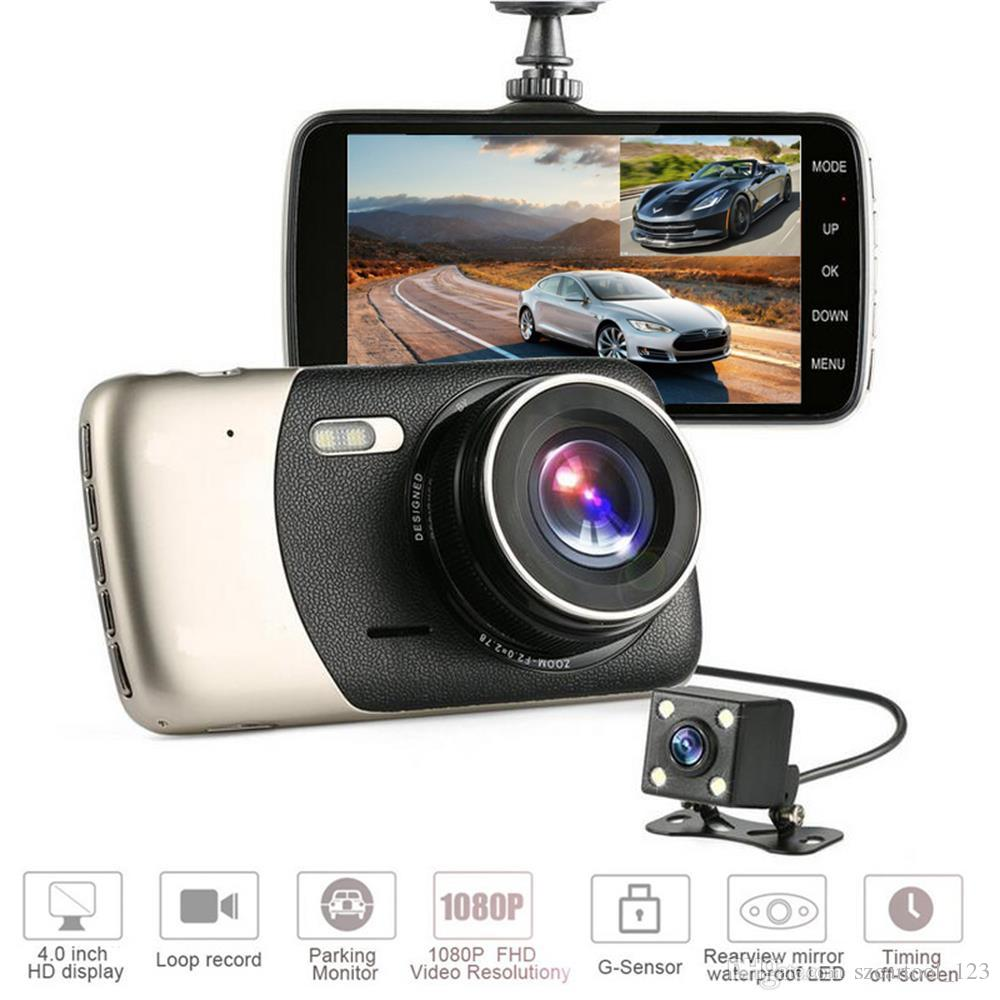 "HD Car dvr full 1080P Dash cam Car Camera Dash Camera with 4"" screen dual camears for front and rear Motion Detection car vedio recorder"