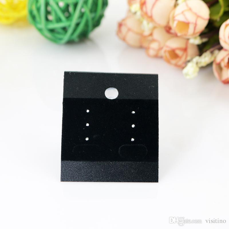 أسود مجوهرات المهنية شنق العلامات 4.3 * 5.2 سنتيمتر 200 قطع pvc المخملية حلق الأذن ترصيع حامل عرض الكلمات بطاقات أسعار المجوهرات