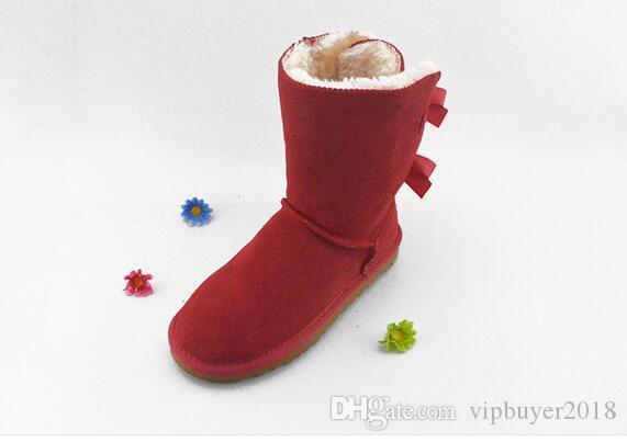 32800 2019 kış Avustralya Klasik kar Botları moda UGN uzun çizmeler gerçek deri Bailey Ilmek kadın bow Diz erkekler ayakkabı sneakers