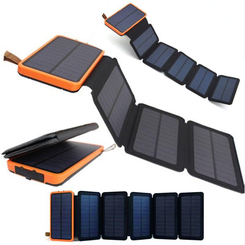 Haute efficacité 12W Soleil Panneau solaire Pliant Banque d'alimentation 30000mAh Chargeur de batterie universelle imperméable avec lampe de camping LED pour charge