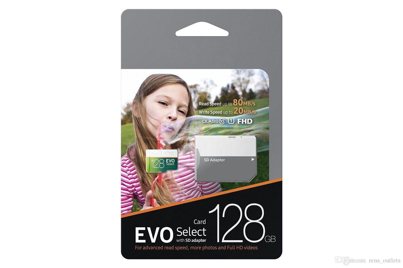 EVO auswählen 90 MB / S 32GB 64GB 128GB 256GB C10 TF-Flash-Speicherkarte Klasse 10 Free SD-Adapter Retail-Blisterpaket Epacket DHL-freies Verschiffen