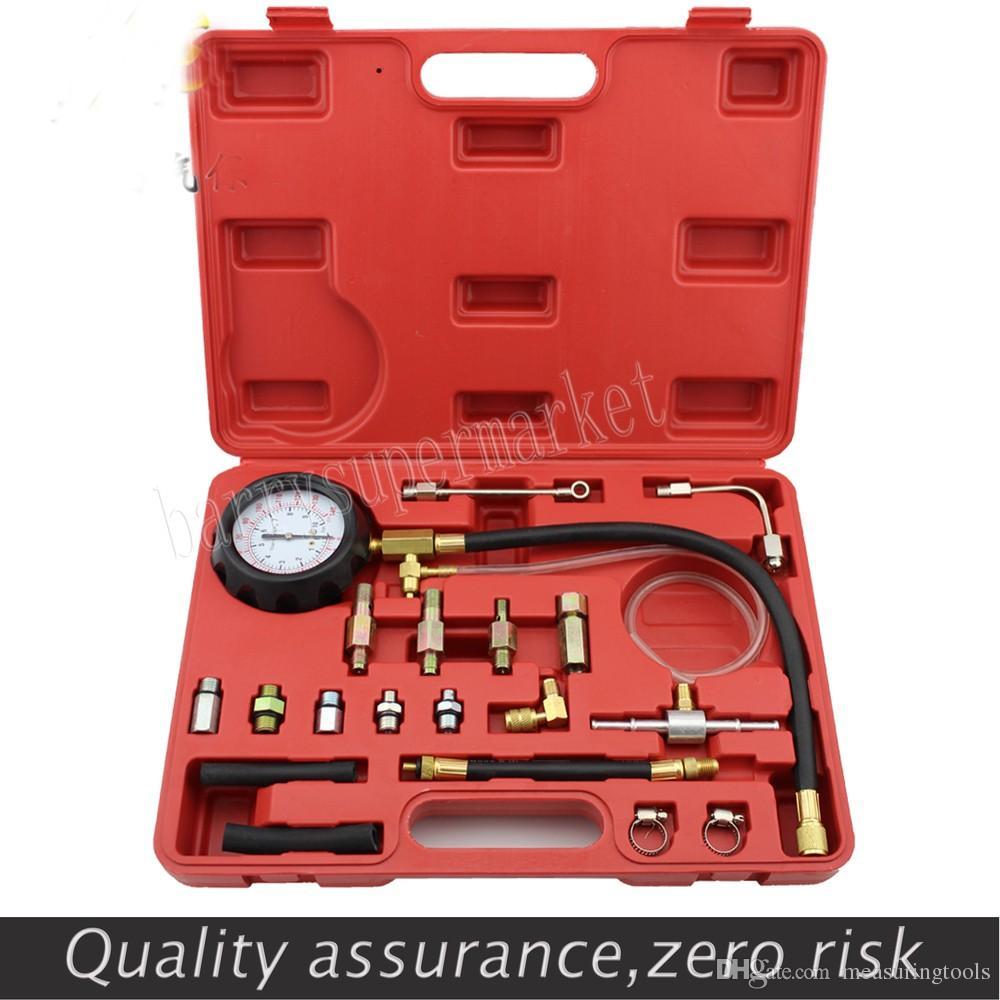 Medidor de presión de combustible para reparación automotriz Combustible Probador de inyección de combustible Conjunto de medidores de presión Fugas de fugas Detector de diagnóstico del probador