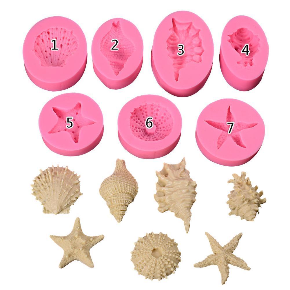 Ocean Series Pearl Conch Starfish Shell Seashell Silicone Mold Fondant Cake Baking Mould Handmade Soap Mold Baking Tool