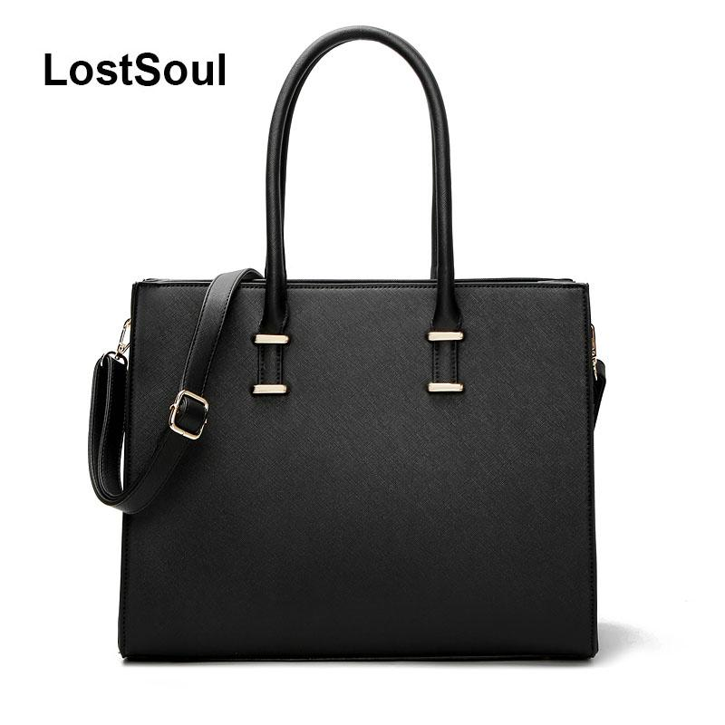 LostSoul women leather handbags toothpick stripes briefcase Top-Handle bags business shoulder ladies totes black