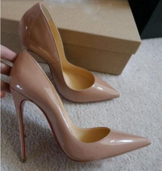 Livraison gratuite So Kate Styles 12 cm talons hauts chaussures rouge fond couleur nude en cuir véritable Point Toe femmes pompes caoutchouc chaussures de mariage