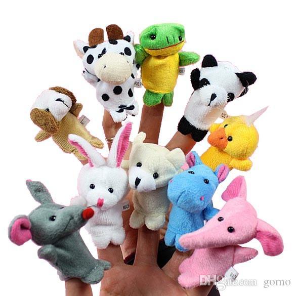 Çocuklar için 10pcs / set Cartoon Hayvan Parmak Kukla Bebek Peluş Oyuncak Hediye Aile Bebekler Çocuklar Parmak Oyuncak Favor