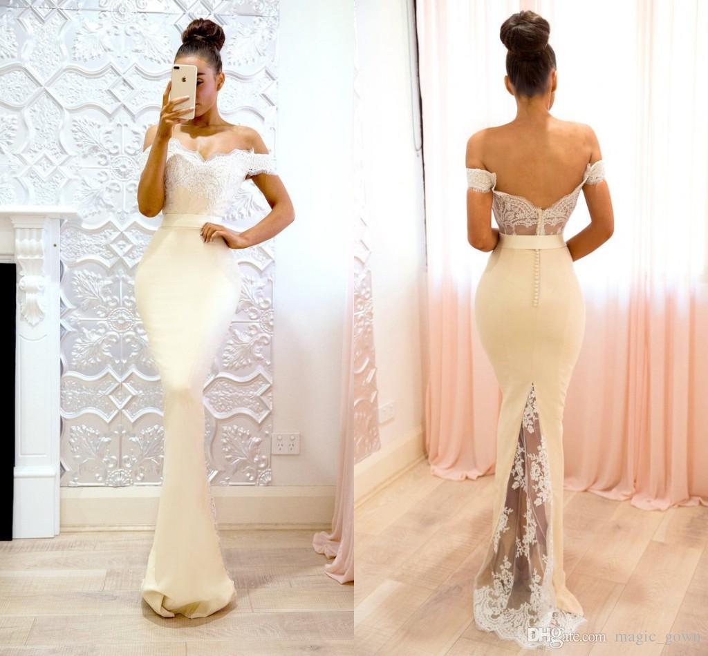 2018 Nova Moda Fora Do Ombro Lace Sereia Vestidos de Baile Applique Vestidos Formais Vestidos de Festa À Noite Personalizado Vestidos de fiesta largos