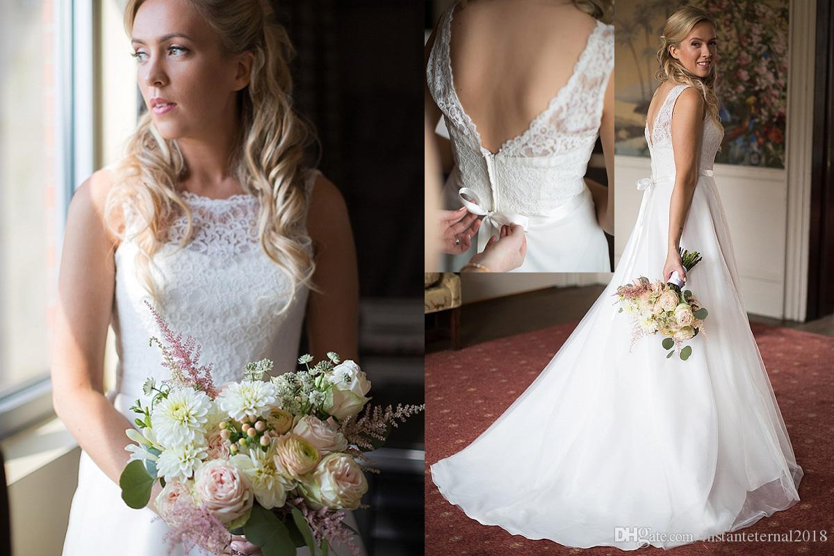 2018 A Line Lace Wedding Dresses Sheer Neck Backless Bridal Dresses Sleeveless Sweep Train Wedding Gowns Plus Size Bridal Gowns