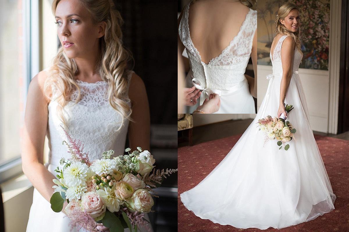 2018 Una linea di abiti da sposa in pizzo Sheer Neck Backless Abiti da sposa senza maniche Sweep Train Abiti da sposa Plus Size Abiti da sposa