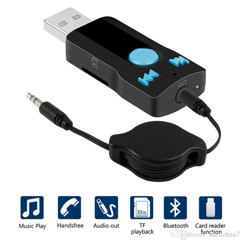 NoyoKere Bluetooth del Coche AUX 3.5mm Jack Receptor Bluetooth Llamadas de Manos Libres Adaptador Bluetooth Transmisor de Coche Auto receptores de m/úsica
