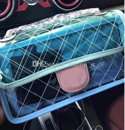 Heißer Verkauf 2018 Sommer Designer PVC Klappe Umhängetasche 28 cm Medium Tasche Lammfell Patchwork Hot Fashion Frauen Flap Tasche Leder Handtasche Strand