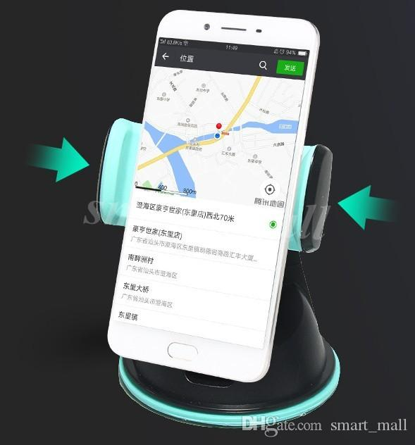 Envoi gratuit Noir blanc gris vert Le support de téléphone portable du support de la ventouse en caoutchouc silicone LLFA