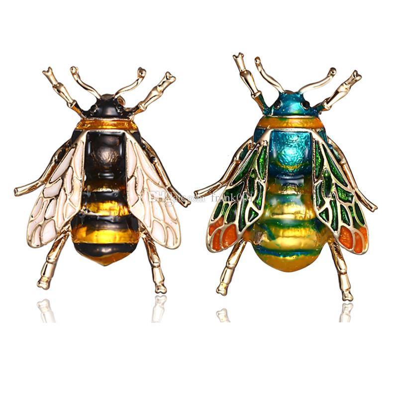 여자 어린이 여자 보석 선물 골드 색상 황색 녹색 에나멜 브로치 보석 범블 꿀벌 배지에 대한 곤충 범블 비 브로치
