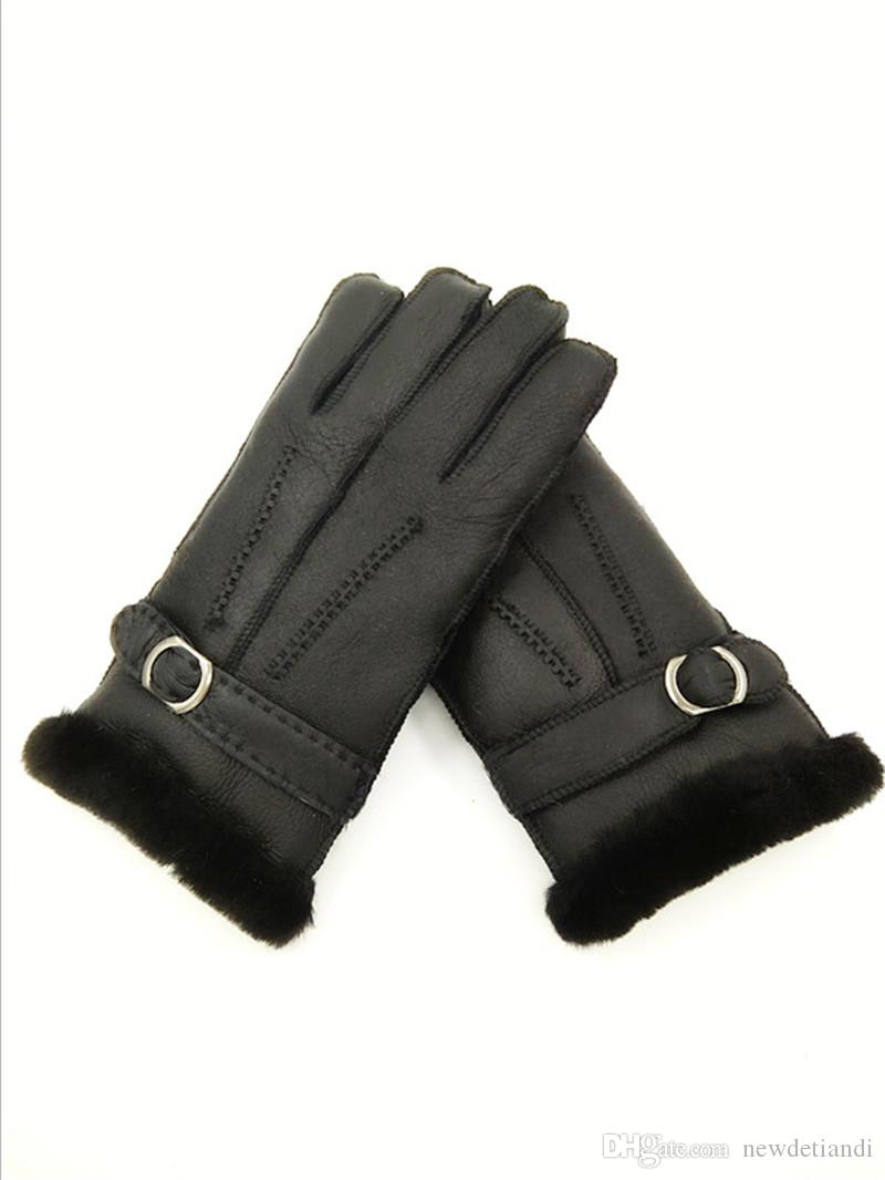 Free Shipping -NEW Men's Casual Fashion Buttons Leather Gloves Genuine Leather Gloves Men Outdoor Wool Gloves