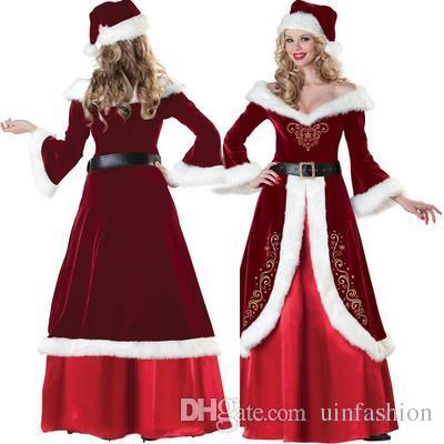 New Arrival Christmas Long Dress Women Christmas Costume For Adult Red Velvet Fur Dresses Female Santa Claus Costume