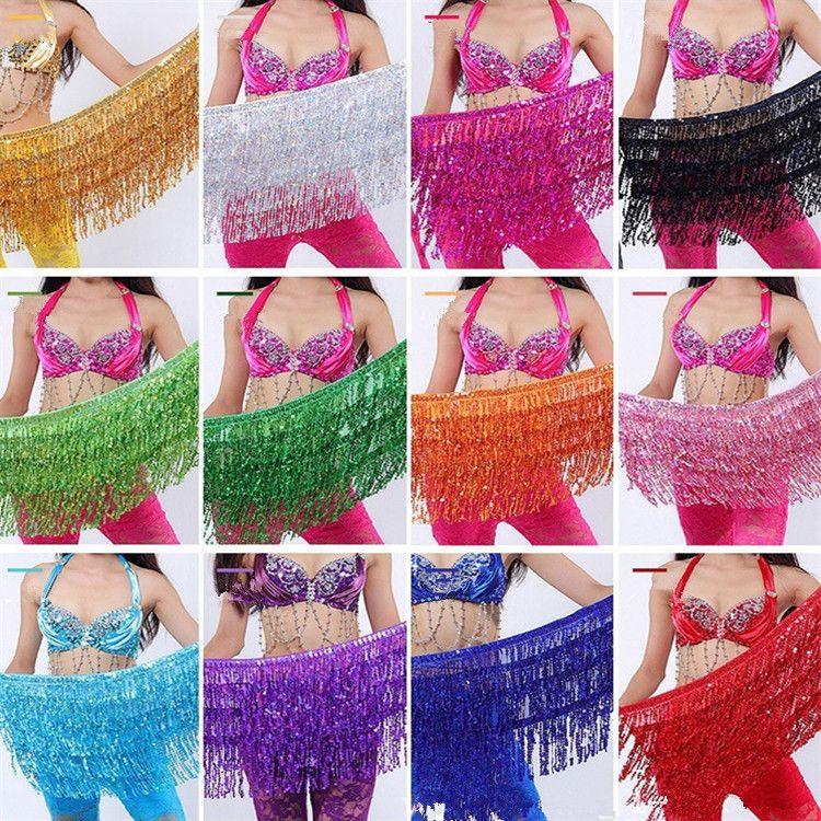 Bauchtanz Kostüm Glanz Quaste Fringe Hüftgurt Taille Wrap Rock Tanzen Kostüm 30 Teile/Los T2I334