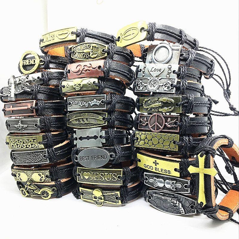 Оптовая ассорти топ металл кожа ручной работы ювелирные изделия манжеты браслеты для мужчин женщин новый панк байкер браслет