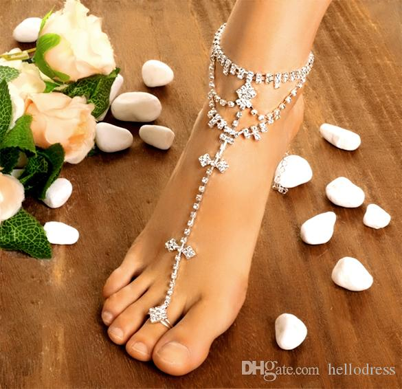 Women Anklet Fashion Jewelry Women Foot Chain Rhinestone Barefoot Wedding Bride Anklets Bracelet With Toe