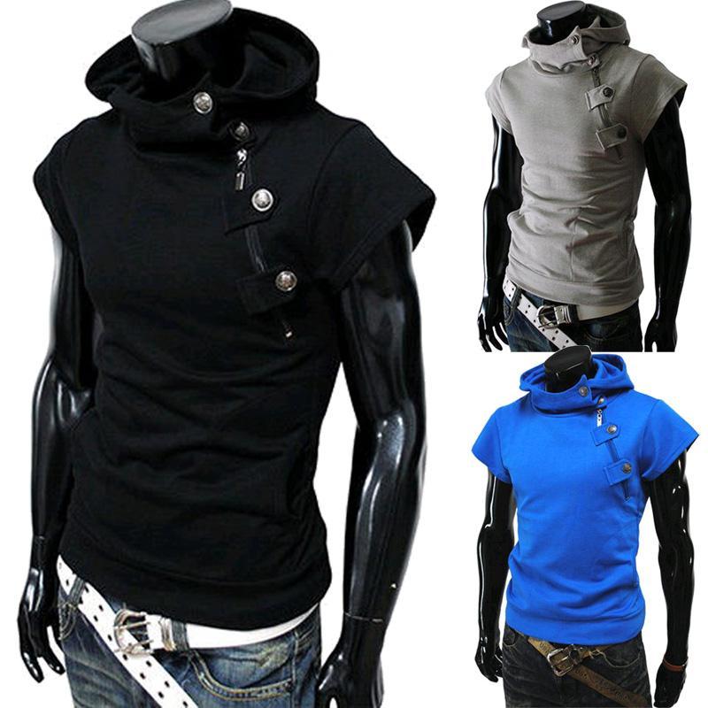 Verano Hombres camisetas 2017 Moda Slim Fit Tops Camisetas Con Capucha de Manga Corta Camiseta Para Hombre Ropa Casual Camisetas hombre camisetas