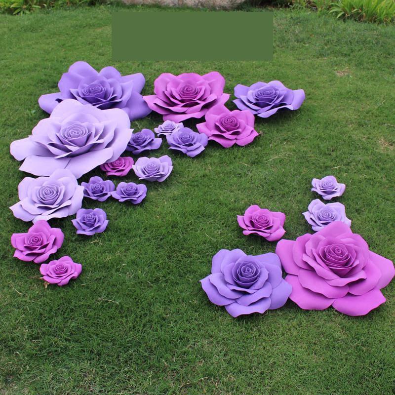 Dev Kağıt Köpük Gül Çiçekler Güller 24 adet Karışık Boyutları Sahne Düğün Parti Olay Arka Plan Masa Süslemeleri decoracao de festa