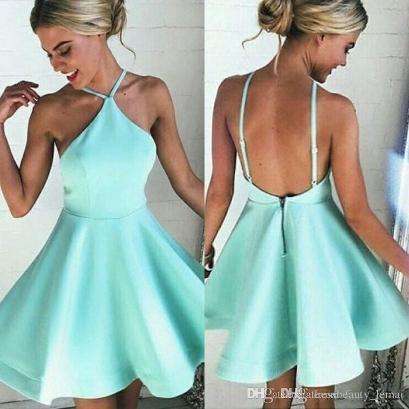 New Mint Green Junior Mini Short Homecoming Dresses Sexy Backless Halter Cocktail Dresses Junior Graduation Prom Party Gowns Free Shipping