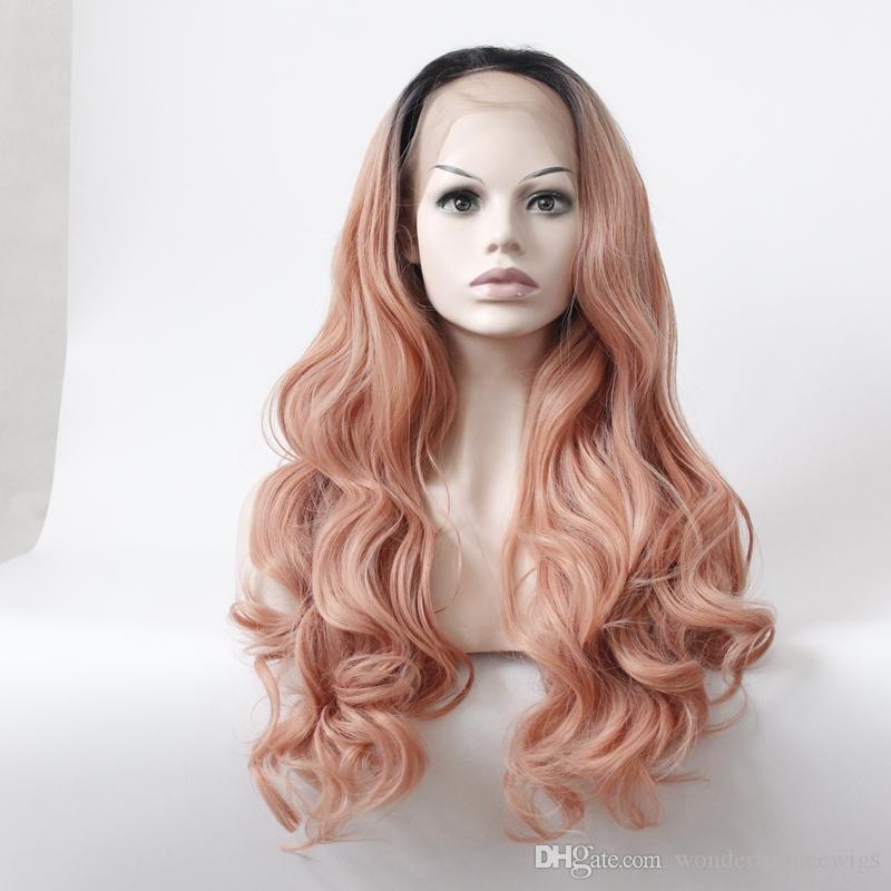 Синтетический парик фронта шнурка Объемная волна Термостойкая средняя часть Натуральная линия роста Темные корни Волосы Ombre Розовые женские кружева передняя половина