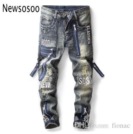 Europejski styl amerykański styl męskie dżinsy męskie spodnie dżinsowe proste vintage moda niebieski otwór zamek błyskawiczny dżinsy dla mężczyzn