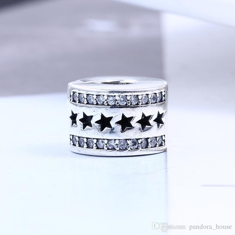 2017 Hiver 100% Réel 925 Sterling Silver Star Clip Charmes Charmes Européennes Perles Fit Pandora Bracelet DIY Bijoux
