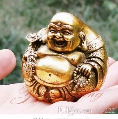 Open light pure copper Ruyi Maitreya Buddha Statue figure Home Furnishing Feng Shui buddha ornament