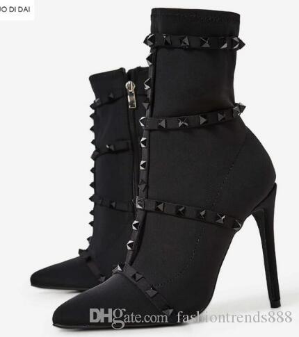 2018 novas mulheres botas pretas zip up mulheres botas de tornozelo salto fino spike stud botas ladies ponto toe rives stud red boots