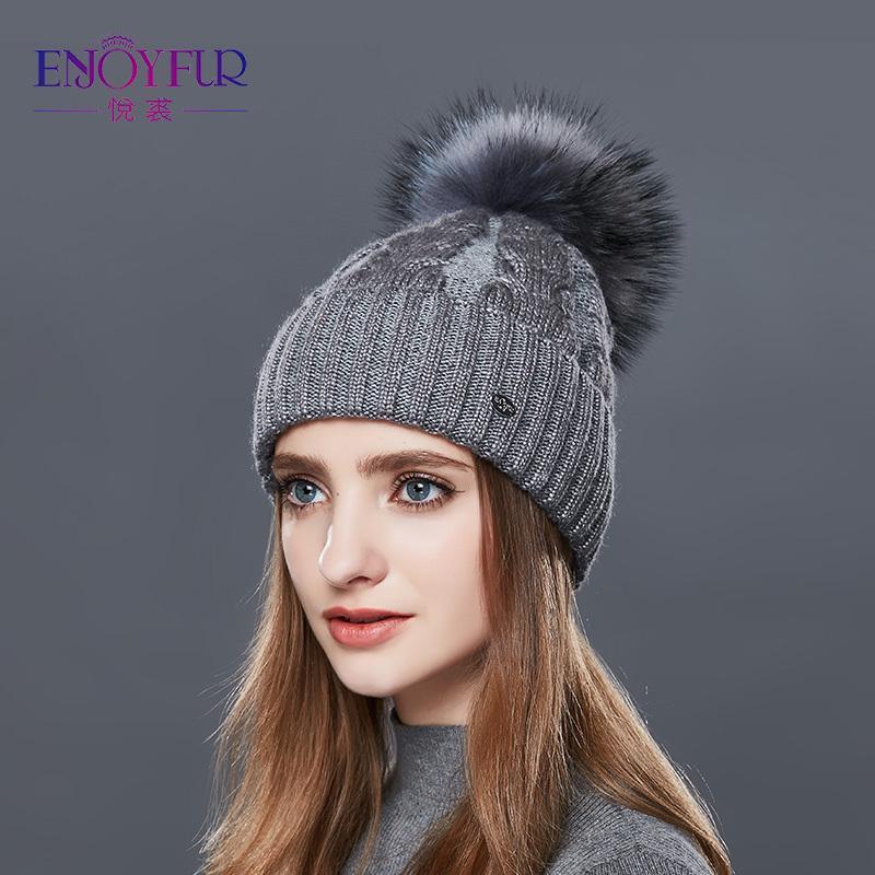 ENJOYFUR Fashion Winter Hats Caps Women Rough Twist-Type Cashmere Knitted Hat Female Girl Thick Warm Beanie Fur Pompom Gorro D18110102