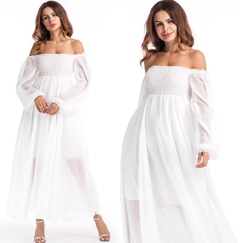 Off The Shoulder Dress avec lanterne manches taille haute couleur blanche en mousseline de soie plage vacances vacances robes d'été pour les femmes