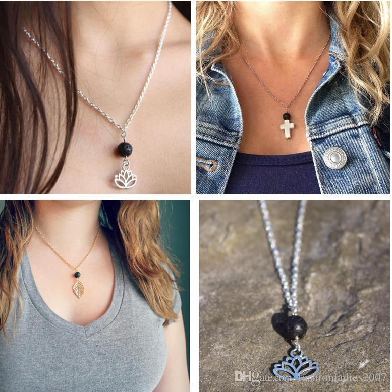 New Lava-rock Lotus Leaf Cross Pendant Aromatherapy Essential Oil Diffuser Necklaces Natural Black Lava Bead Pendant Necklace Fine Jewelry
